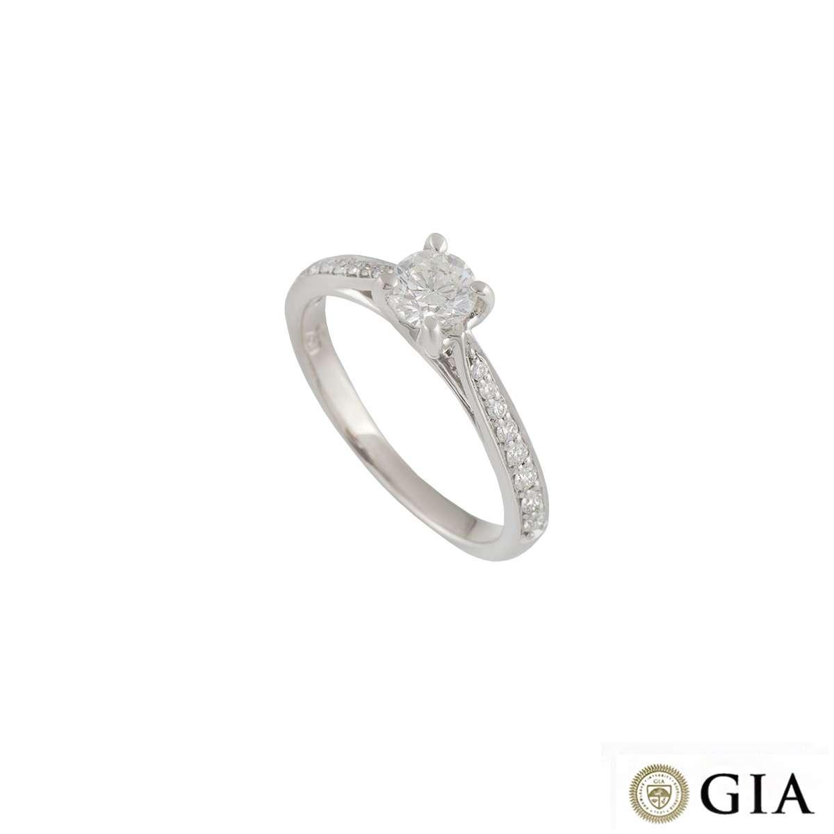 18k White Gold Round Brilliant Cut Diamond Ring 0.40ct H/SI1